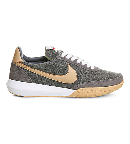 info for d3d3f a49f4 NIKE Roshe Waffle wool and leather trainers (Grey+tan+prm
