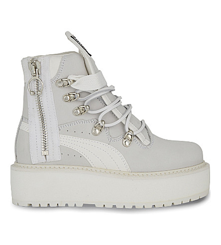 12875478fa9 FENTY X PUMA Platform leather sneaker boot (White+nubuck
