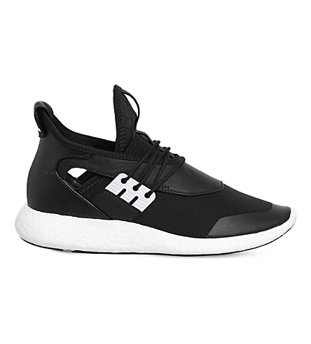28e8cc7ef77fd ADIDAS Y3 Elle Run leather and neoprene sneakers (Black+white