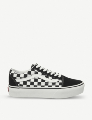 VANS Old Skool Checkboard canvas and suede platform trainers
