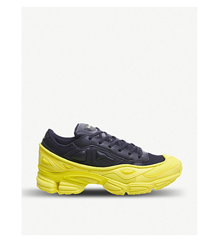 purchase cheap 32bfc 78562 ... ADIDAS X RAF SIMONS Ozweego III leather and mesh trainers (Yellow+navy.  PreviousNext