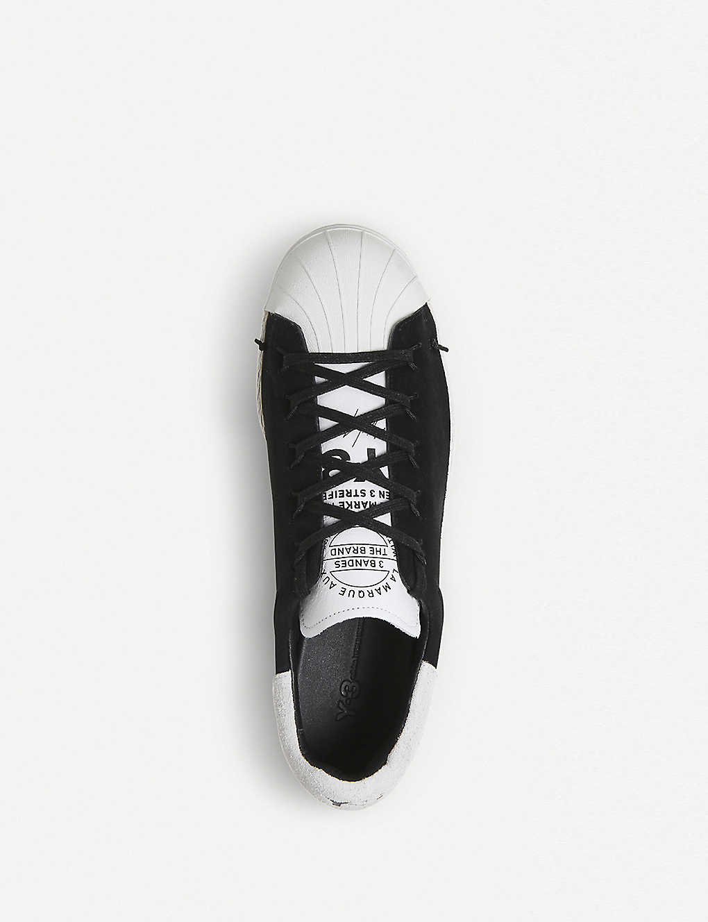 ade2d8309d67 ... Y-3 Superstar Knot suede low-top trainers - Black white ...