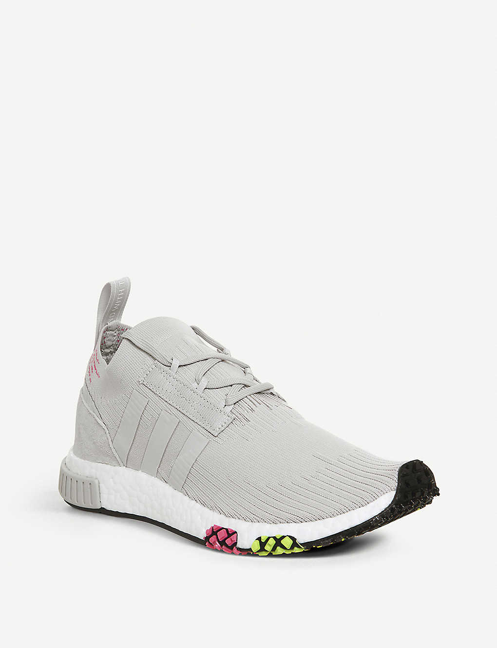 4c3c4b9194cb5 ... Nmd Racer Primeknit and leather trainers - Grey one solar pink ...