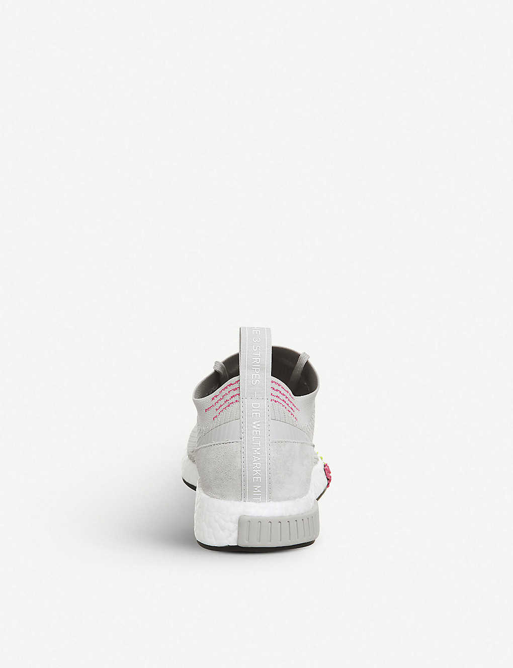 e62c14bdc7abf ... Nmd Racer Primeknit and leather trainers - Grey one solar pink ...