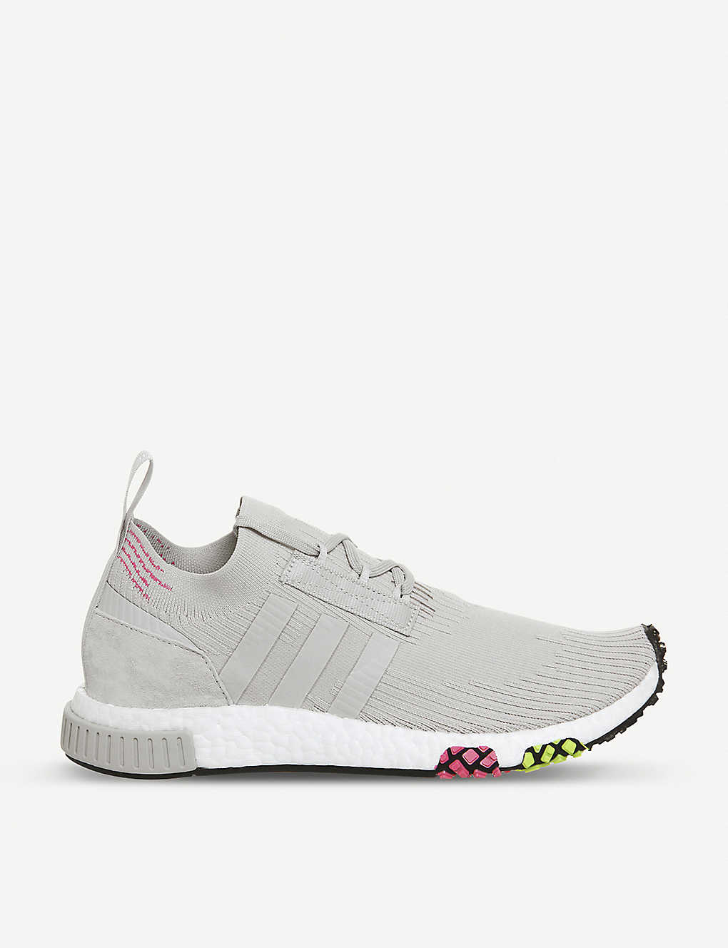 3737e29e3fc74 Nmd Racer Primeknit and leather trainers - Grey one solar pink ...