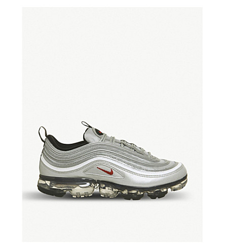 ... NIKE Air VaporMax 97 leather trainers (Metallic+silver+red. PreviousNext b9b6d4d9c