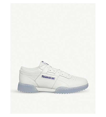 094e405062c4d1 ... REEBOK Workout Ripple leather trainers (White+blue+ice. PreviousNext