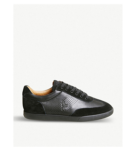 Cadoc Mixed Leather Low-Top Trainers in Black