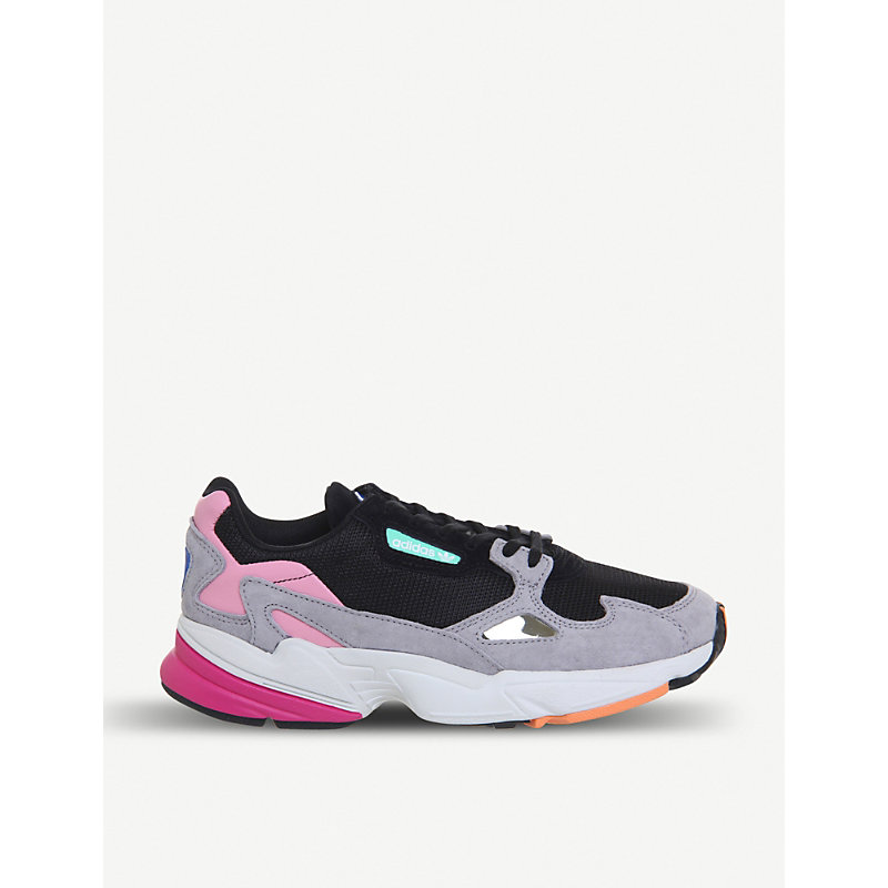Adidas Originals Falcon Suede And Mesh Trainers In Core Black Light