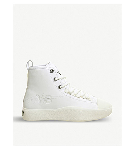 33aa184e7dd21 ADIDAS Y3 Bashyo 2 leather high-top trainers (White+white