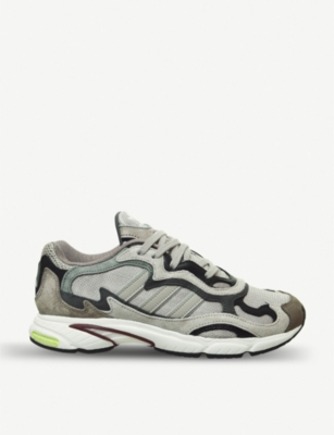 ADIDAS Temper Run mesh, suede and leather trainers