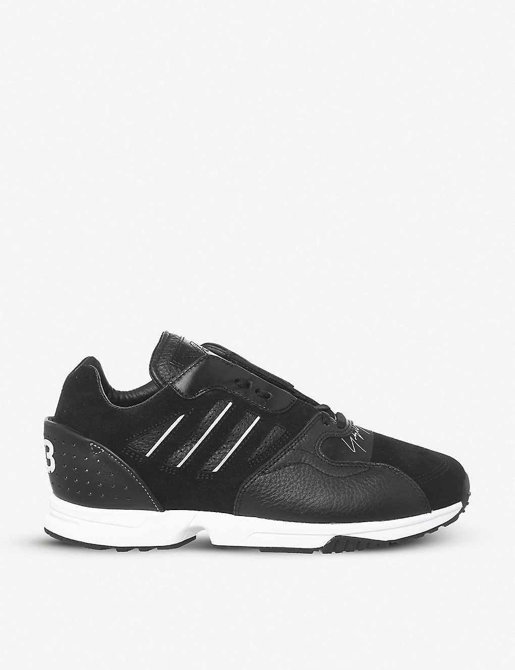 6dcad484a Zx Run leather and suede trainers - Black white ...
