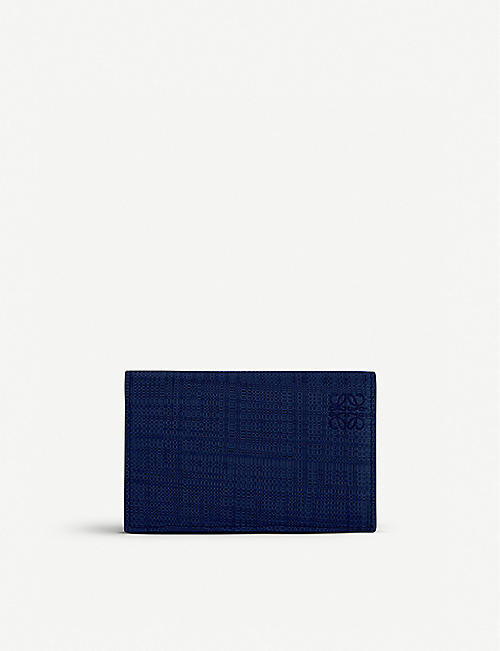LOEWE: Textured leather business card holder