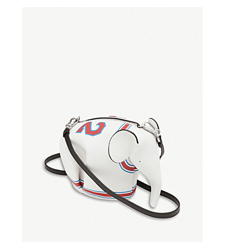 Ladies Soft White And Red Modern Elephant 22 Mini Leather Bag, Soft White/Red