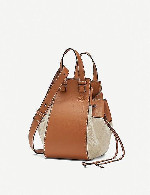 LOEWE Hammock medium leather and linen shoulder bag 30fefc66fbc9