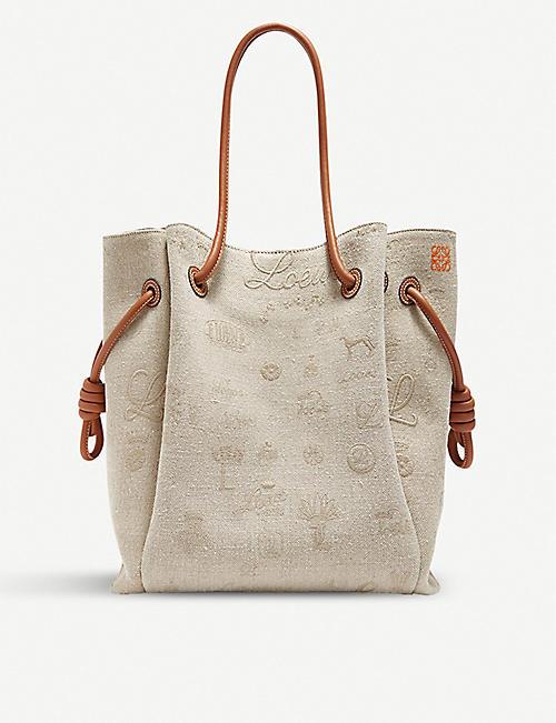 f9b7bd17b390 LOEWE Flamenco Knot linen and leather shoulder bag