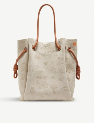 LOEWE Flamenco Knot linen and leather shoulder bag