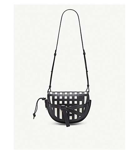 09d3c800e44a ... LOEWE Gate grid small leather shoulder bag (Black white. PreviousNext