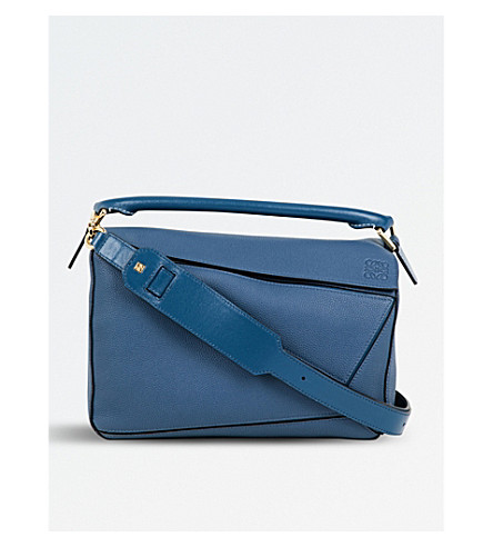 Loewe Puzzle Medium Multi-function Leather Bag In Indigo