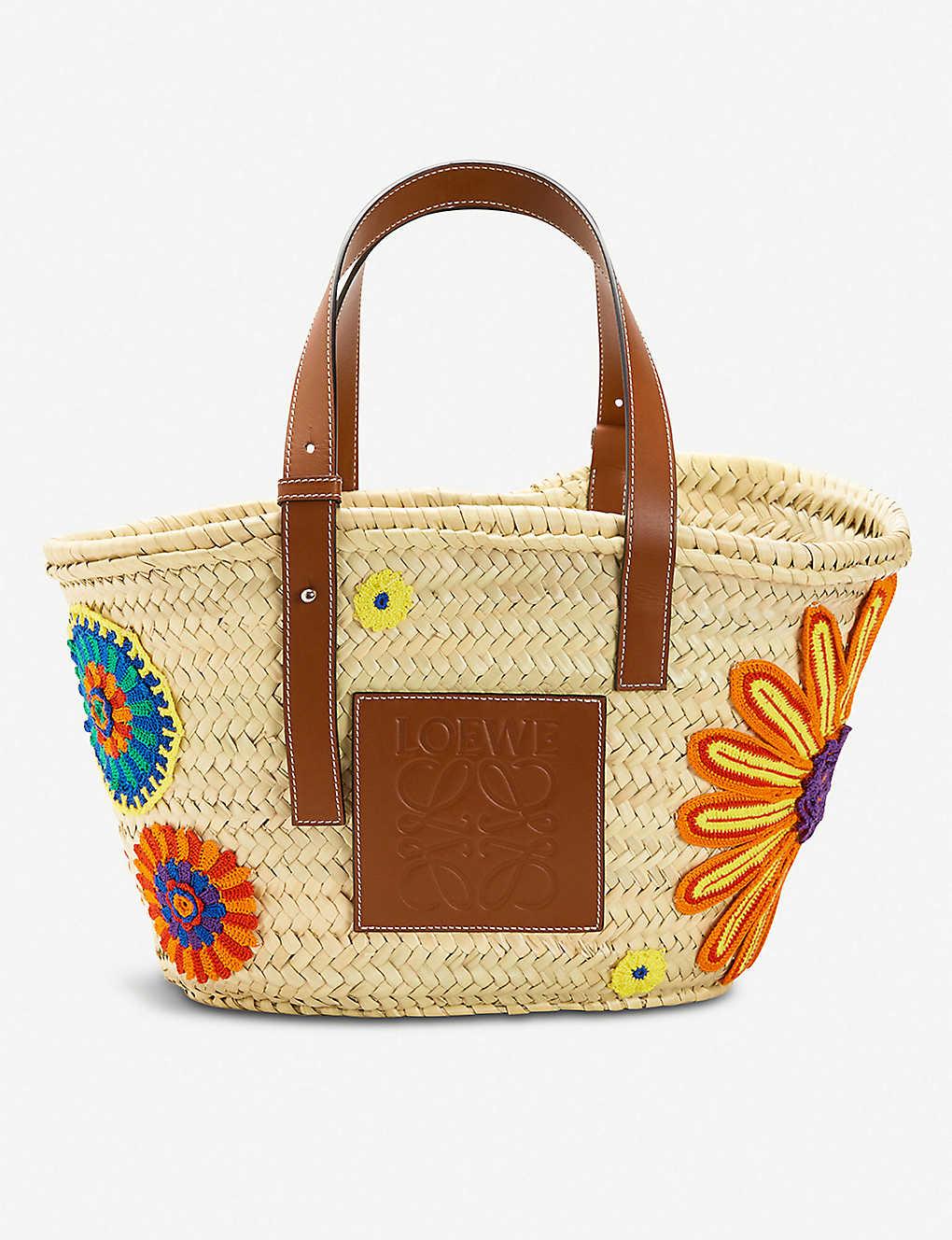 b5cdc49424b LOEWE - Flowers large raffia and leather basket bag   Selfridges.com