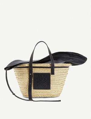 LOEWE Hand-woven raffia and leather basket bag