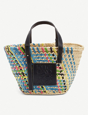 LOEWE Raffia and leather basket bag