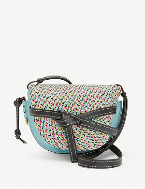 LOEWE Gate woven raffia and leather shoulder bag