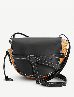 LOEWE Gate straw and leather shoulder bag