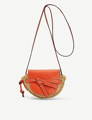 LOEWE Gate mini raffia and leather shoulder bag