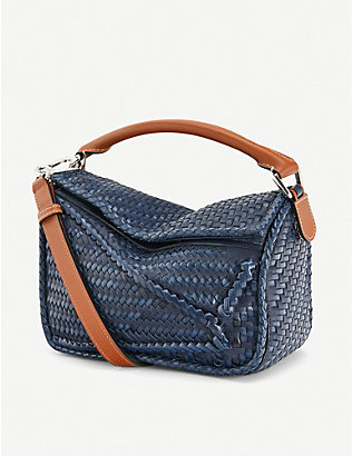 LOEWE: Puzzle small woven leather bag