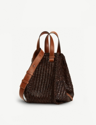 LOEWE Hammock medium leather-woven shoulder bag