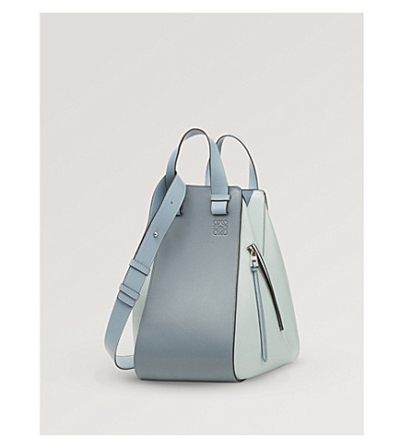 Small Hammock Bicolor Leather Hobo - Blue