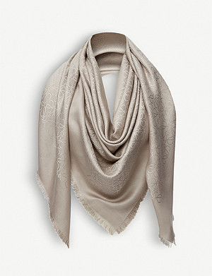 LOEWE Anagram wool and silk-blend scarf