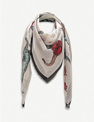 LOEWE: Alphabet animal-print silk-twill scarf