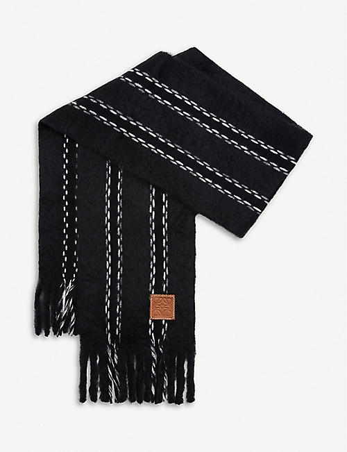 LOEWE Stitches logo-patch mohair scarf