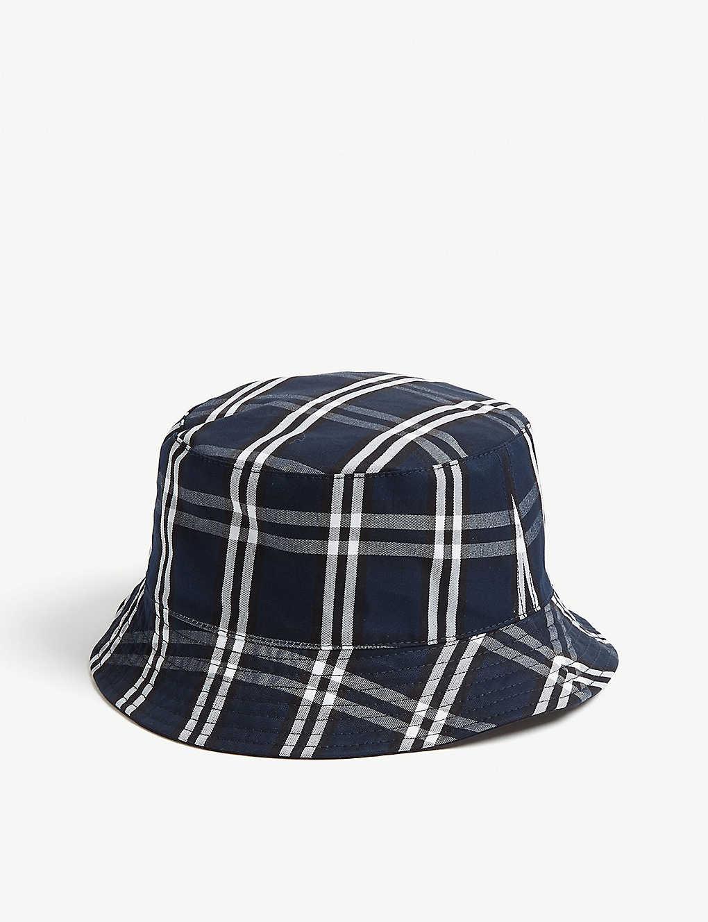 b6fb58374a2 Cotton tartan reversible bucket hat - Navy blue ...