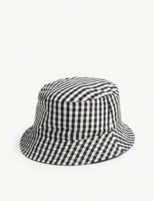 SANDRO Gingham cotton reversible bucket hat