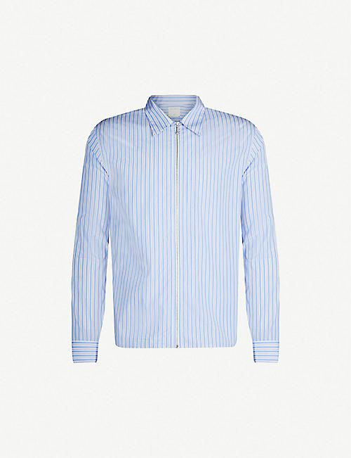 bdae7ad98 SANDRO Zip-up striped regular-fit cotton shirt