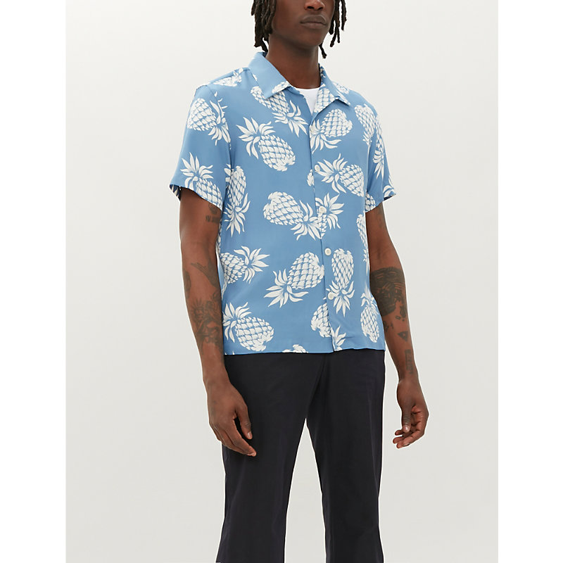Sandro T-shirts PINEAPPLE-PRINT RELAXED-FIT CREPE SHIRT