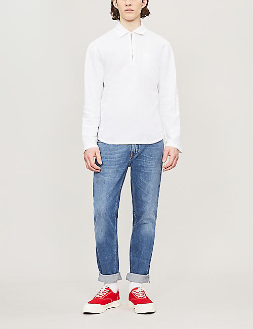 54732b0ab SANDRO Zip-up regular-fit linen and cotton-blend shirt. Quick Shop