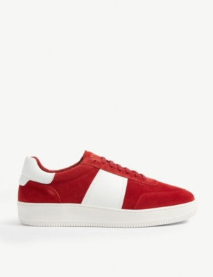 SANDRO Suede and leather trainers