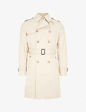 SANDRO Belted cotton mac