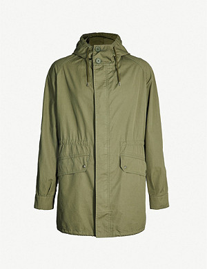 SANDRO Drawstring-waist hooded cotton-twill coat