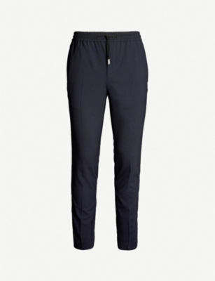 SANDRO Wool-blend tapered-leg trousers