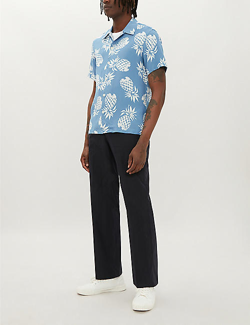 93d12e5c0 SANDRO Slim-fit straight-leg cotton-blend trousers