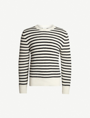 SANDRO Striped knitted cotton-blend jumper