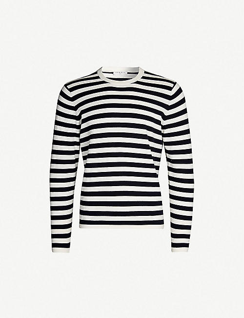 SANDRO Striped cotton and cashmere-blend jumper