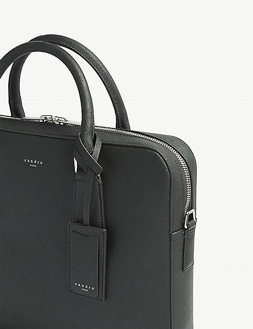 SANDRO Downtown large saffiano leather briefcase