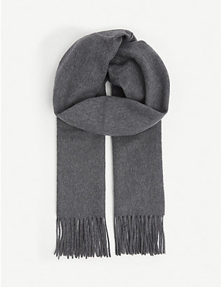 SANDRO: Wool and cashmere tasselled scarf