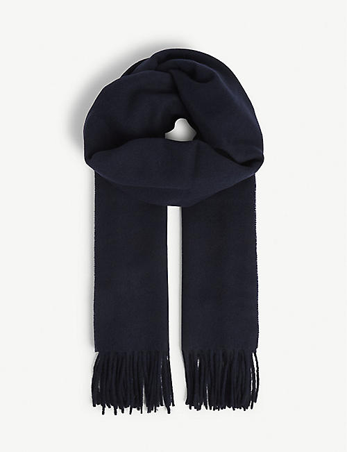 SANDRO Wool and cashmere tasselled scarf